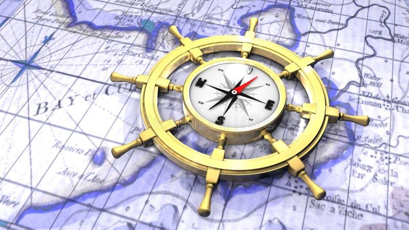 Compas dans la roue d'un bateau illustration de vecteur