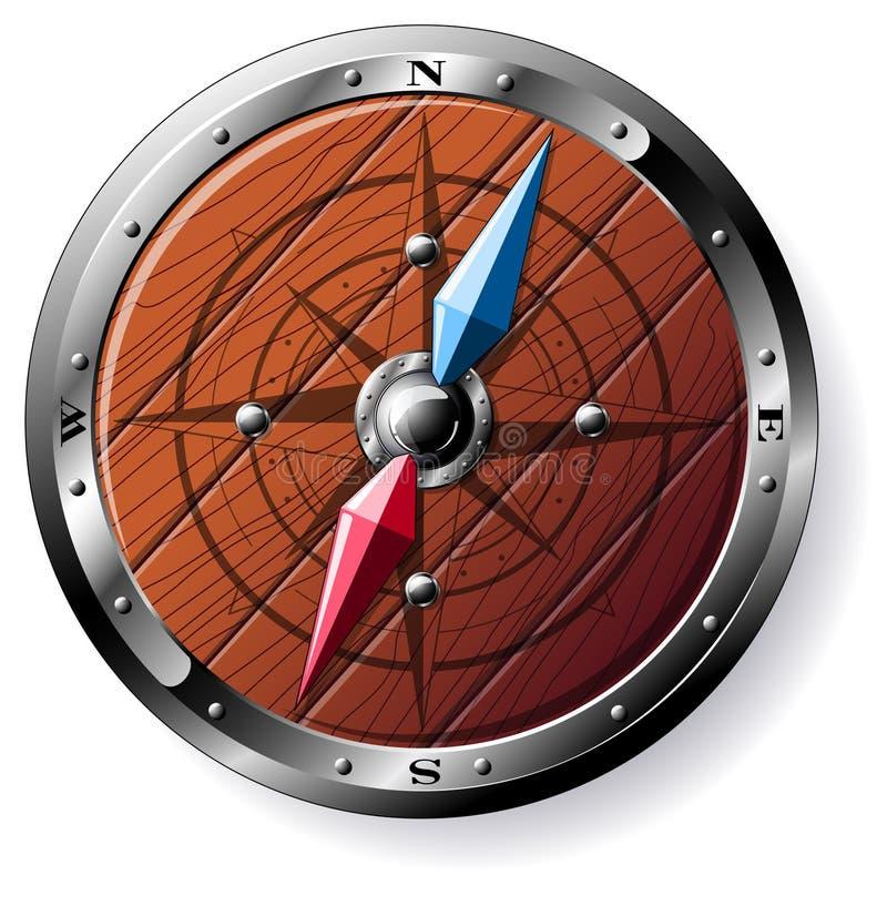Compas en bois détaillé illustration de vecteur