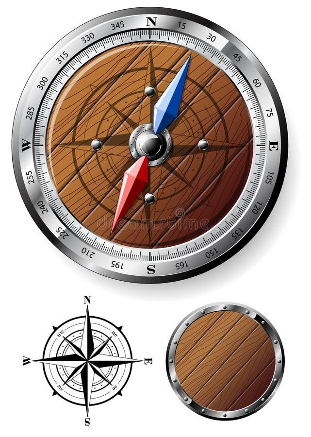 Compas en bois détaillé illustration libre de droits