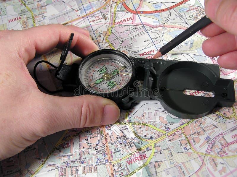 Compas en kaart royalty-vrije stock foto's