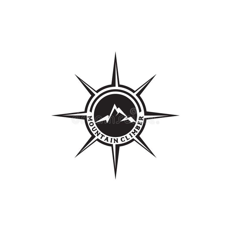 Compas et calibre de vecteur de conception de logo de montagne illustration libre de droits