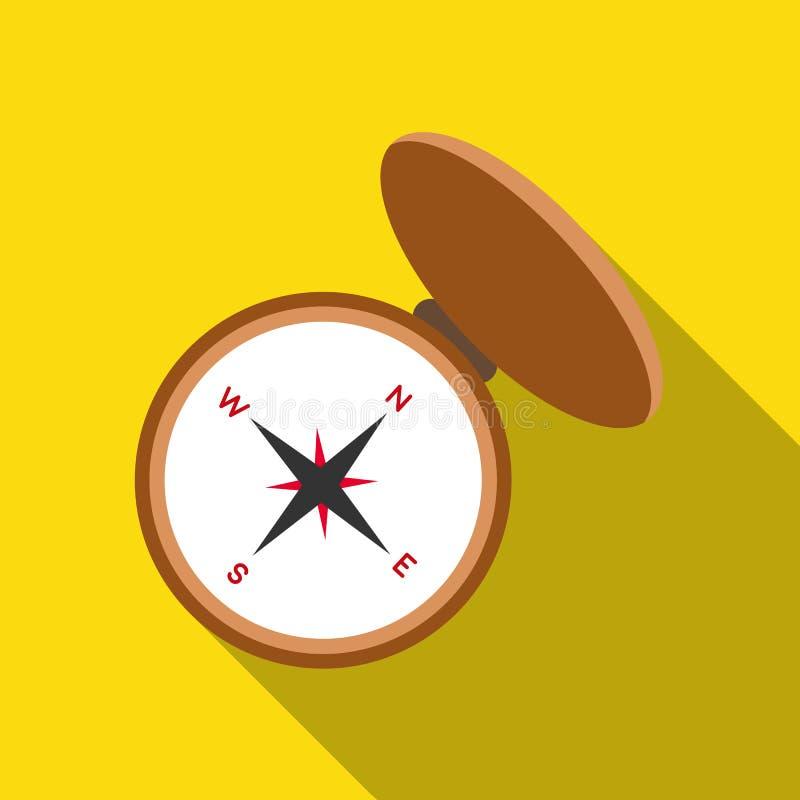 Compas symbol i plan stil som isoleras på vit bakgrund Illustration för vektor för jaktsymbolmateriel vektor illustrationer