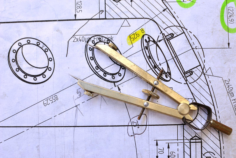Compases y el dibujo foto de archivo