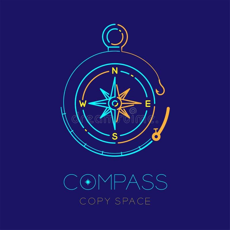 Compass и str плана значка логотипа формы рамки круга рыболовной удочки иллюстрация вектора