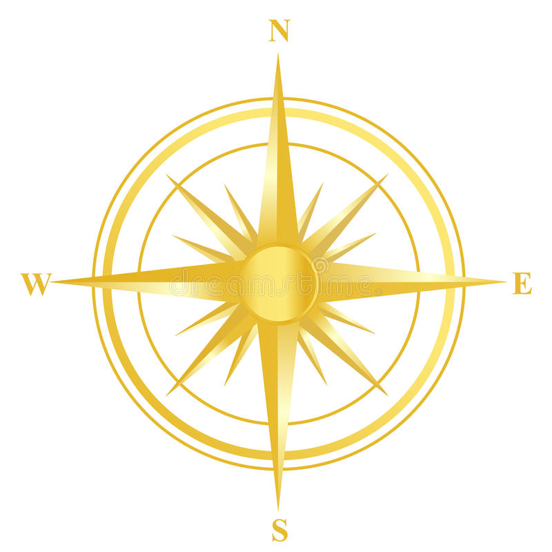 Compass. Golden compass illustration with north south east west