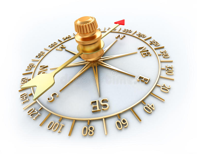 Compass. Golden compass on white background