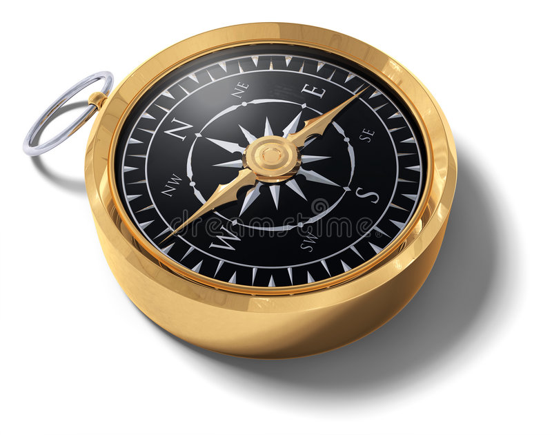 Compass. An old fashoned brass compass on a white background