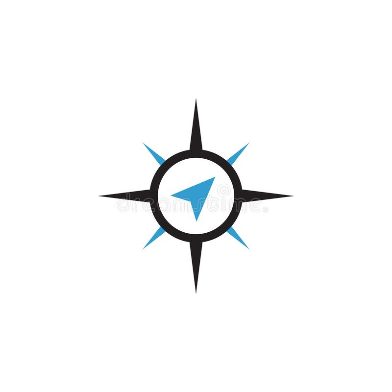 Compass abstract icon graphic design template isolated. Direction, symbol, travel, logo, blue, survival, journey, silhouette, style, sea, circle, navigator royalty free stock photo