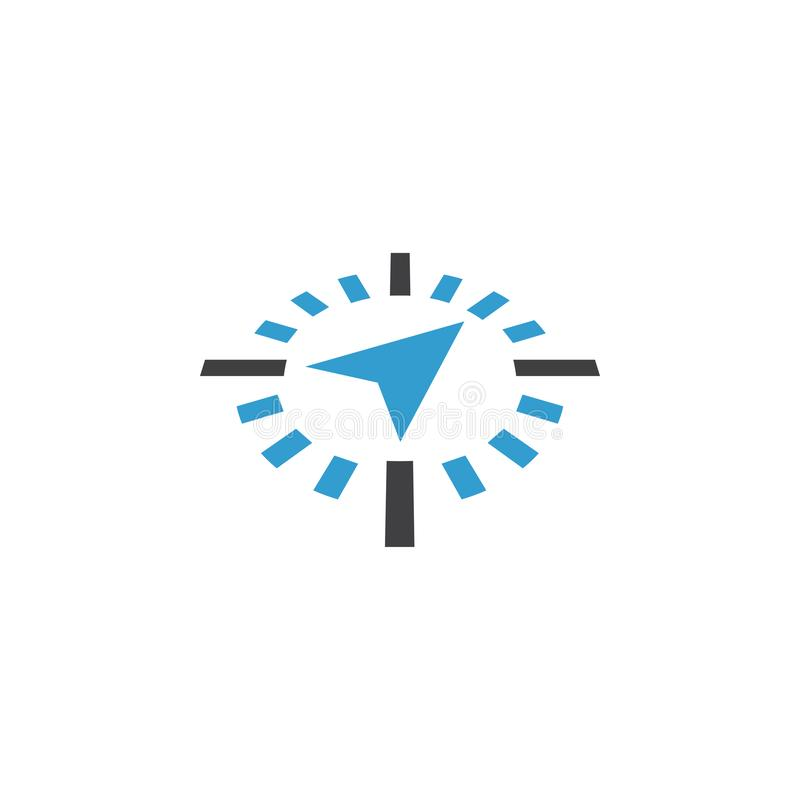 Compass abstract icon graphic design template isolated. Direction, symbol, travel, logo, blue, survival, journey, silhouette, style, sea, circle, navigator stock illustration