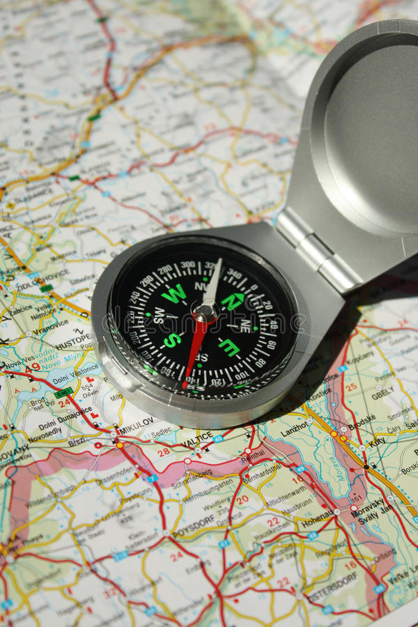 Compass&Map image stock