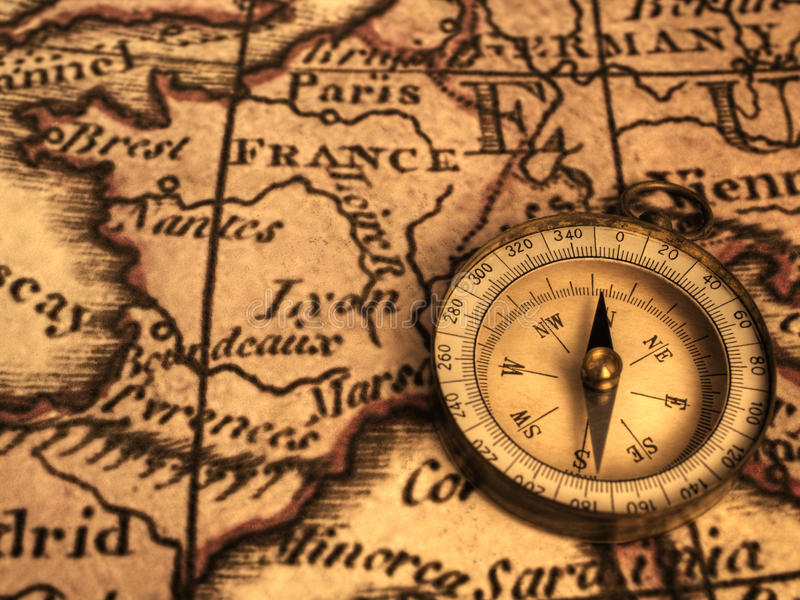 Download Compass And Ancent Map Of France Royalty Free Stock Images - Image: 26071719