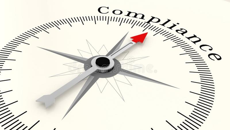 Compass with arrow pointing to the word compliance vector illustration