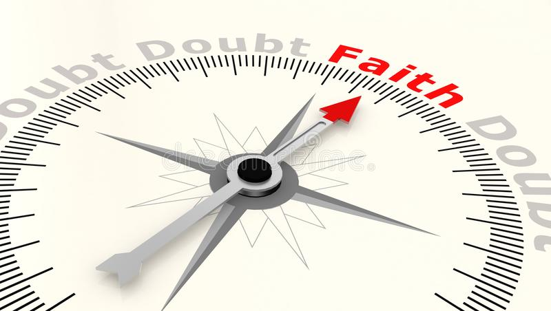 Compass with arrow pointing to the word faith. 3D rendering vector illustration