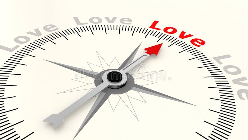 Compass with arrow pointing to the word love stock illustration