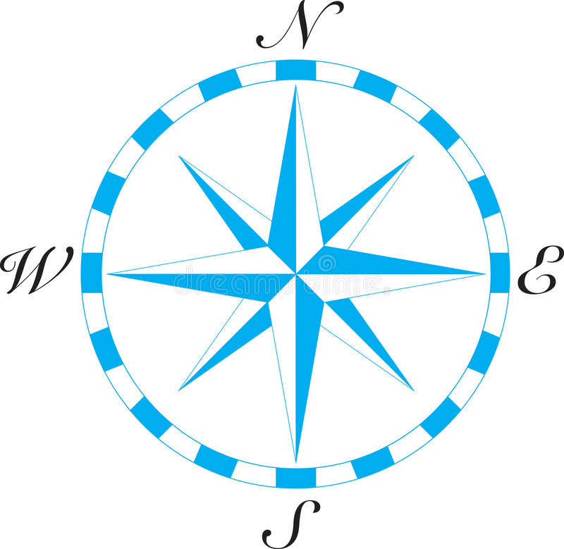 Compass Art. Old fashioned directional compass with each direction