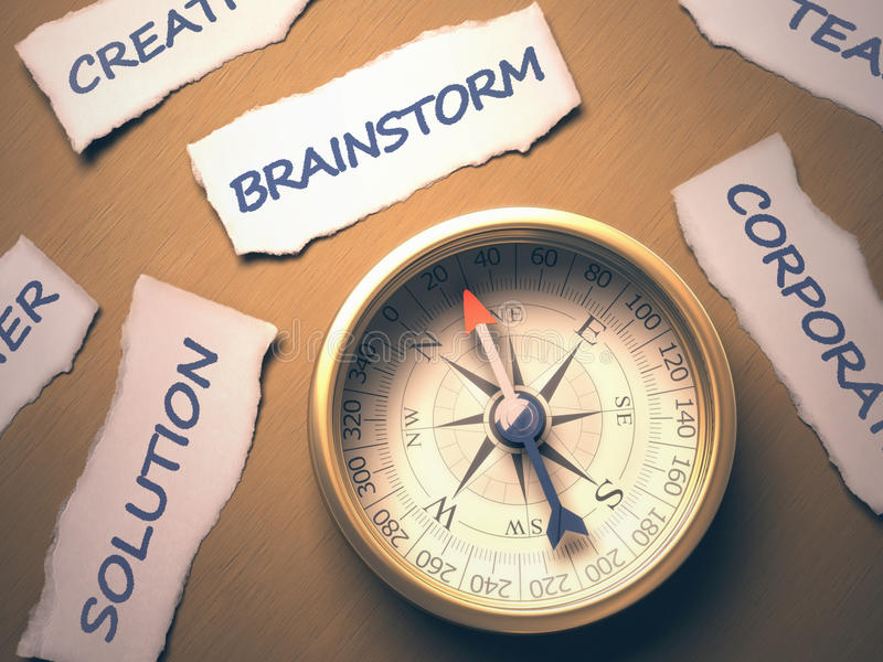 Download Compass Brainstorm stock image. Image of east, place - 39991495