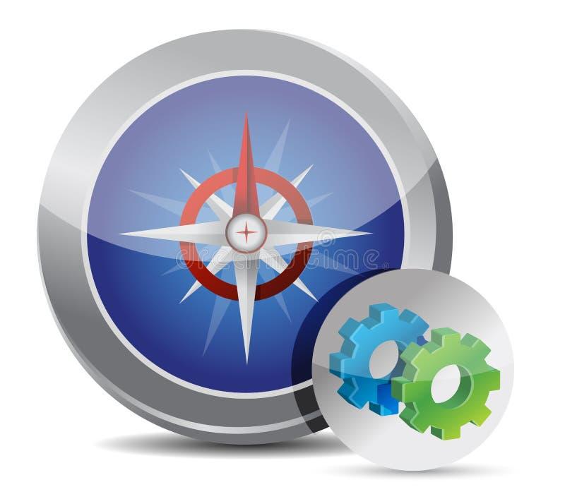 Compass button gear vector illustration
