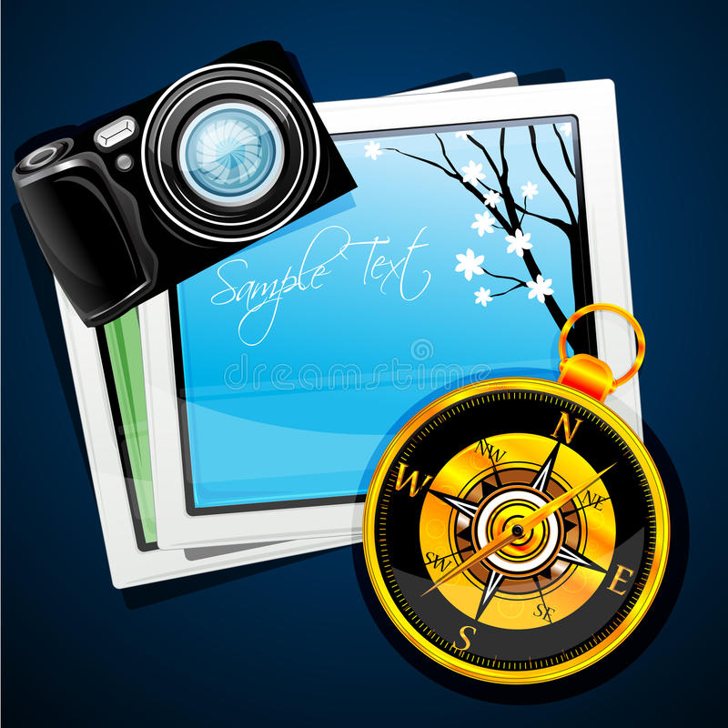 Download Compass With Camera And Pictures Stock Illustration - Image: 17691778