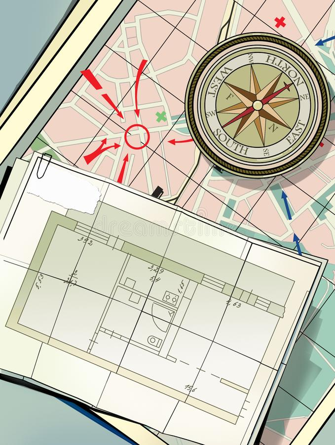 Compass on the city map. Strategy of action. Search for housing, Rental housing. Plan of living quarters. / stock illustration