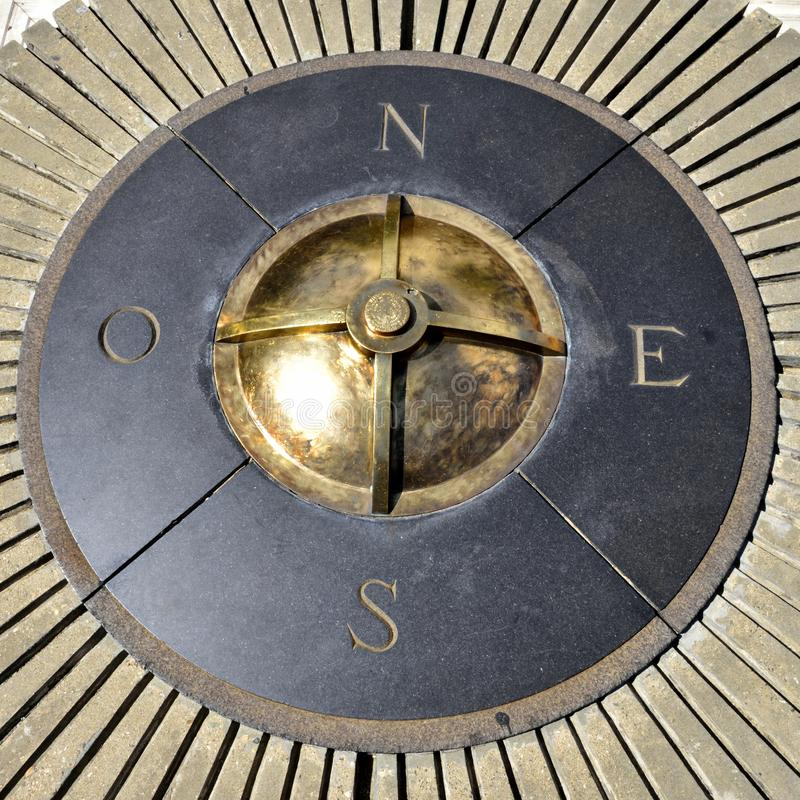 Compass of the colonial city of Santo Domingo. A bronze compass of the colonial city of Santo Domingo royalty free stock images