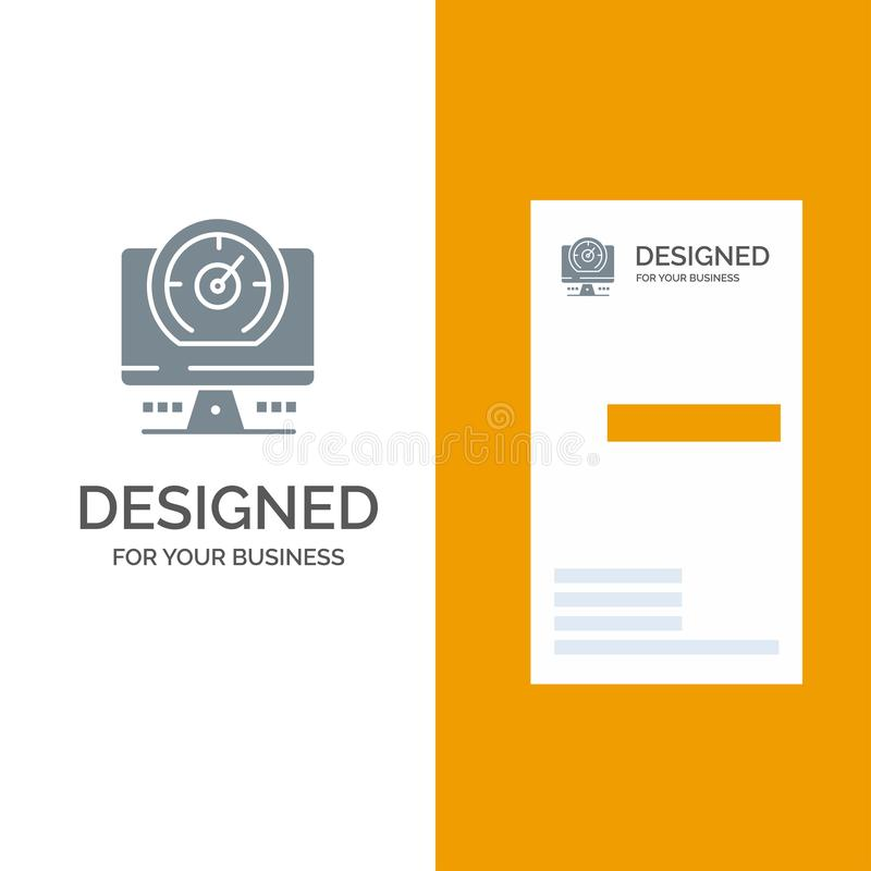 Compass, Computer, Timer, Location Grey Logo Design and Business Card Template vector illustration