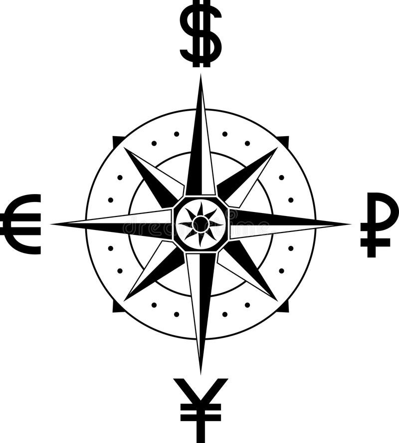 Compass of currencies royalty free illustration