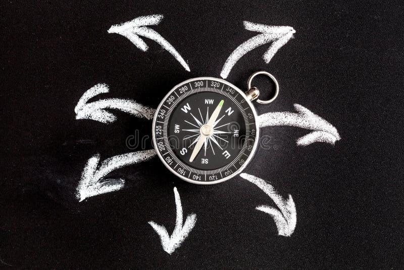 Compass on dark background concept - arrows, direction top view. Compass on dark background concept arrows, direction motion top view stock photo