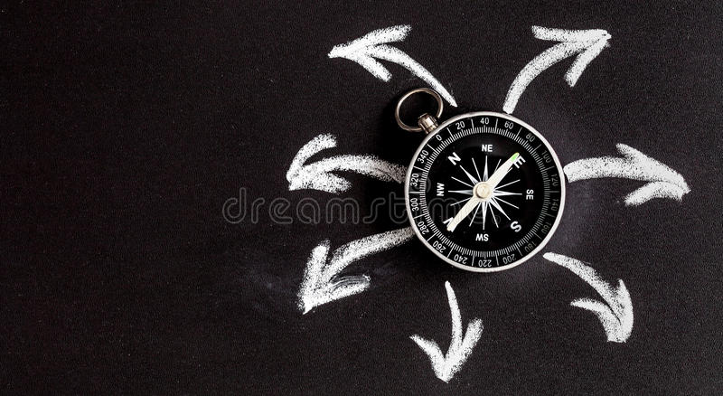 Compass on dark background concept - arrows, direction top view. Compass on dark background concept arrows, direction motion top view royalty free stock image