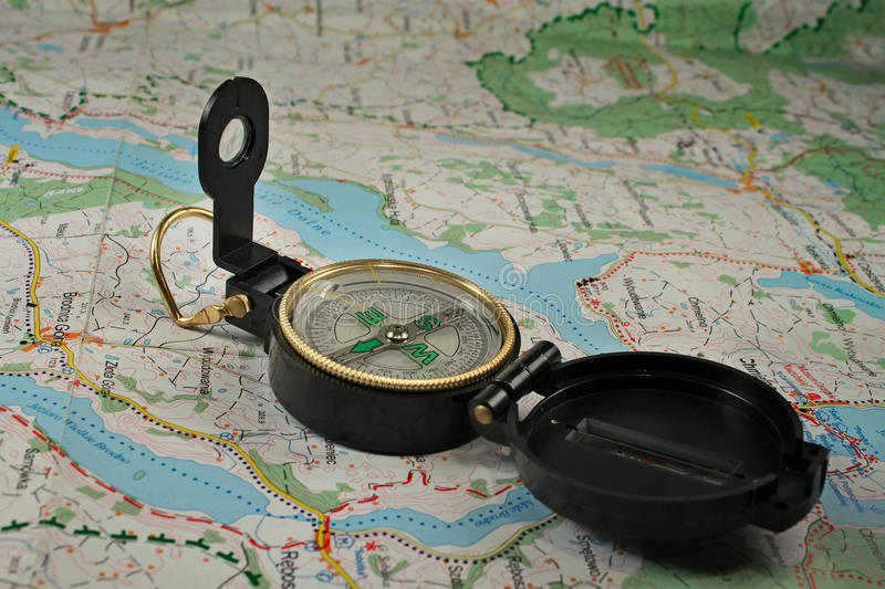 Download Compass On The Detailed Map Stock Image - Image: 12122209