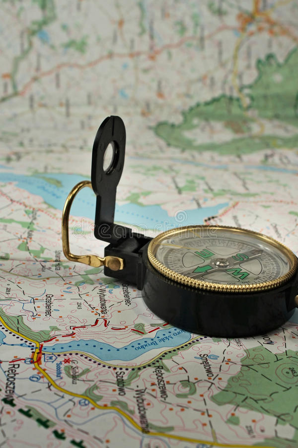 Download Compass On The Detailed Map Stock Image - Image: 12180871