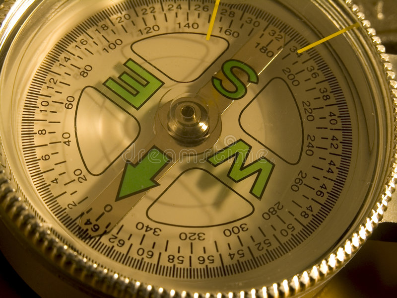 compass dial Close-up stock photo