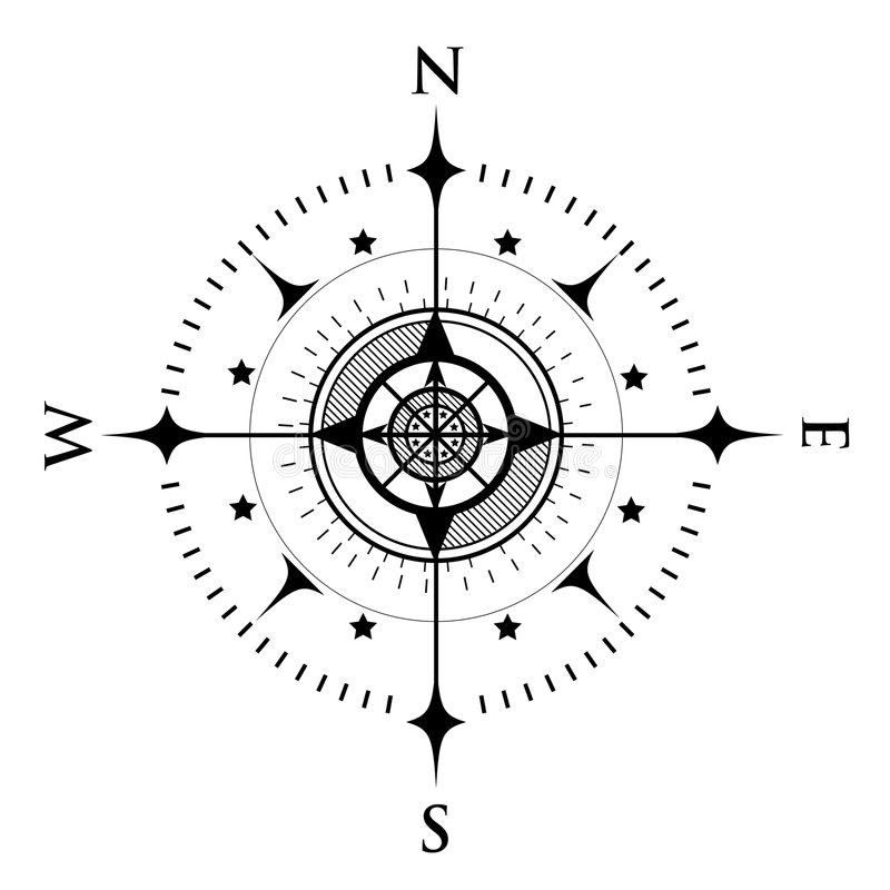 Compass Dial on White royalty free illustration