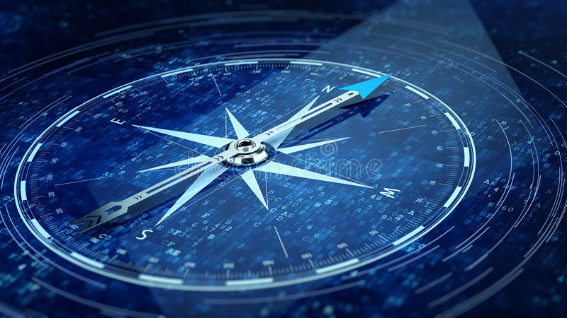 Compass Direction On Digital Code Blue Background. 3d rendering royalty free illustration
