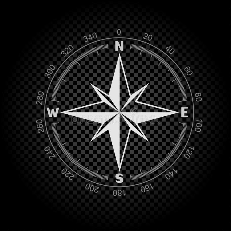 Compass directions dark background stock illustration