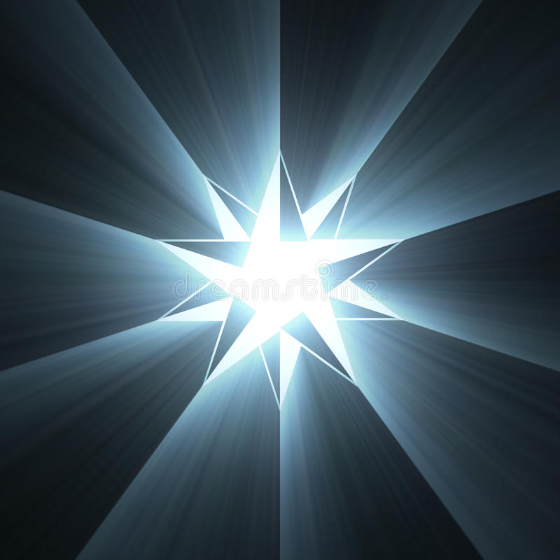 Compass eight point star light flare. Unique 8 point star with powerful blue light halo. Shining magical compass mark stock illustration