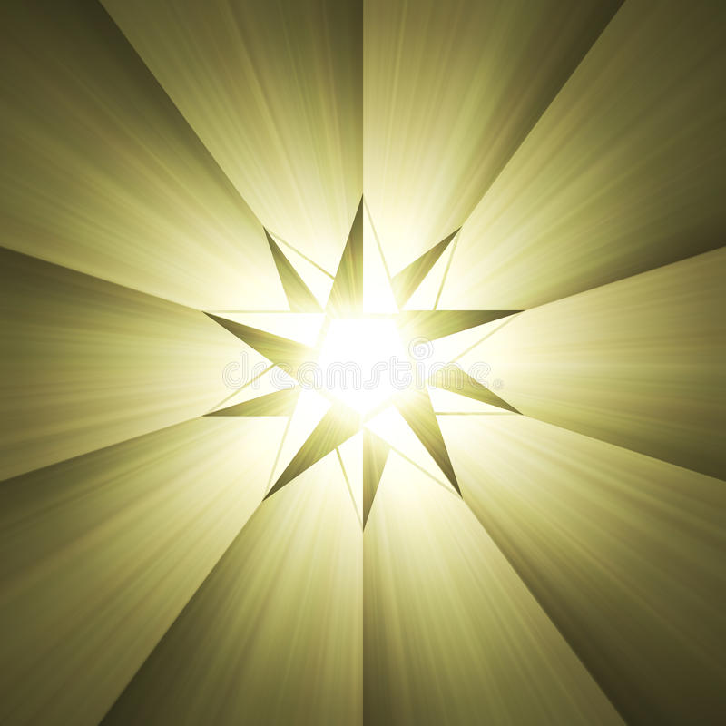 Compass eight point star light flare. Unique 8 point star with powerful sun light halo. Shining magical compass mark royalty free illustration