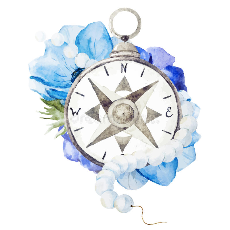 Compass with flowers royalty free illustration