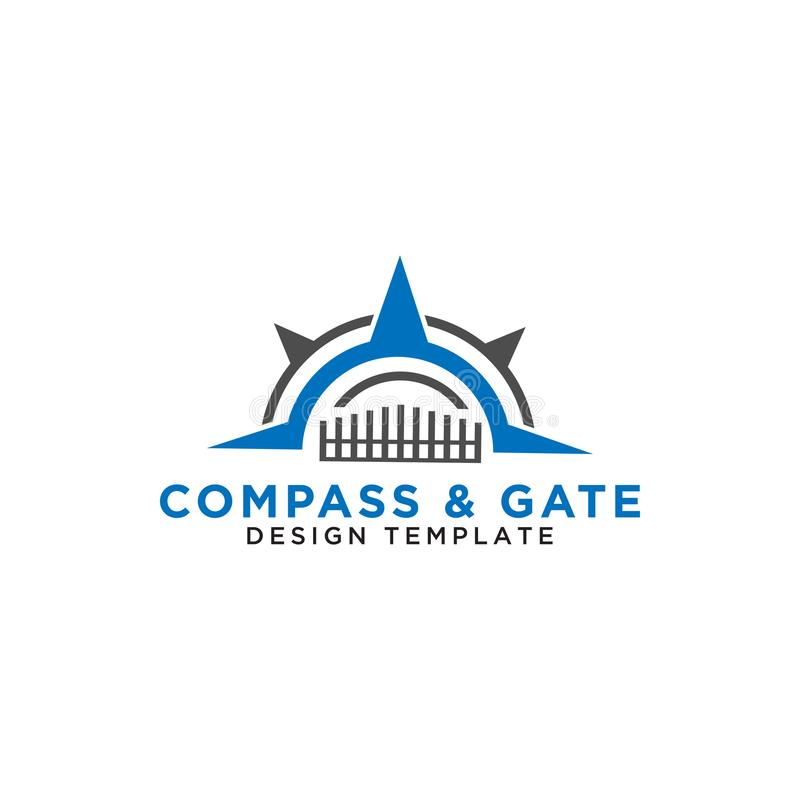 Compass and gate logo design template vector. Illustration of compass and gate logo design template vector stock illustration