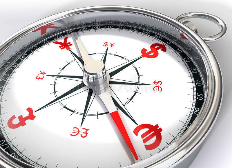 Compass for global currency vector illustration