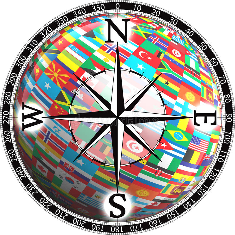 Compass and globe flags royalty free illustration
