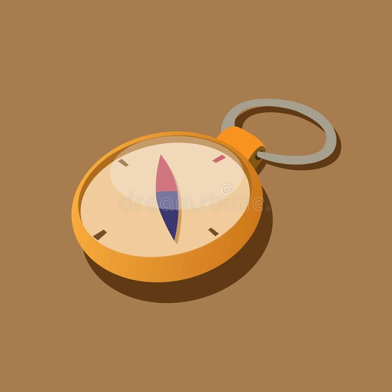 Compass golden keychain, adventure expedition gear in brown background concept illustration vector stock illustration
