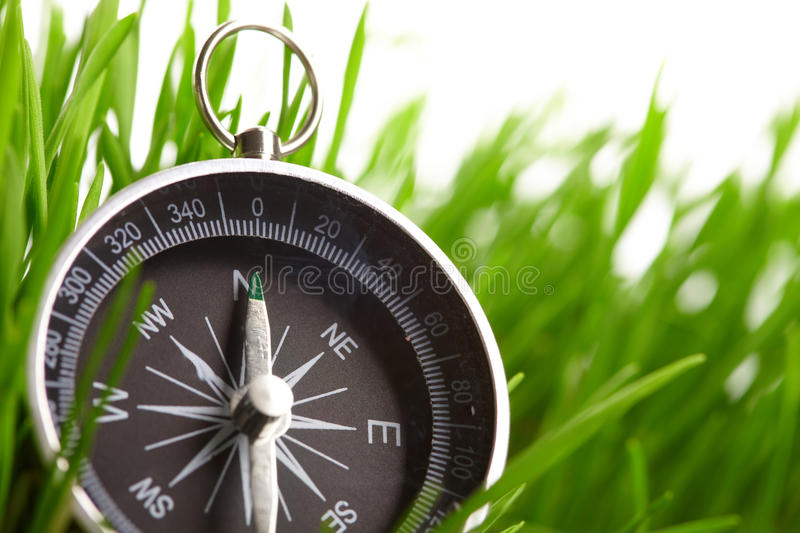 Compass in green grass royalty free stock images