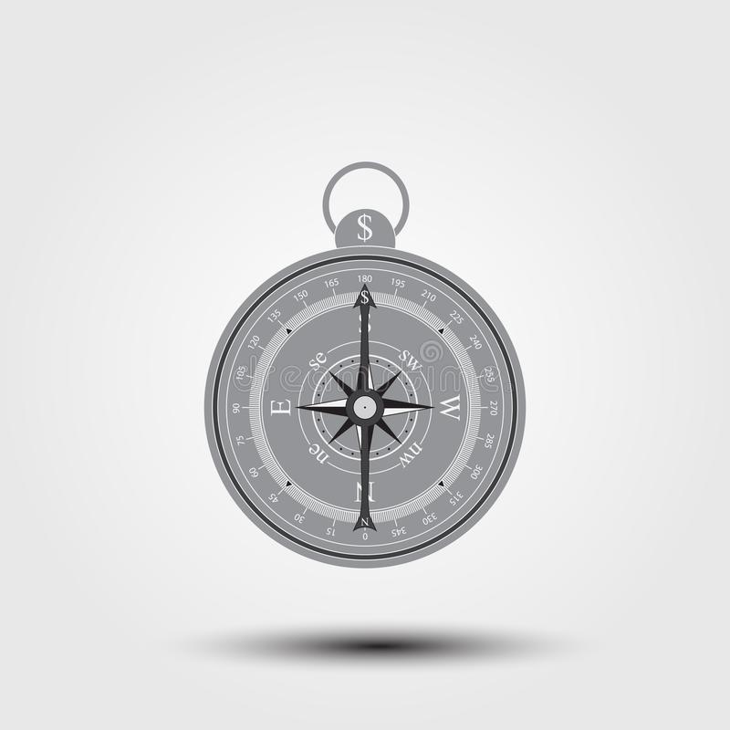 Compass icon with dollar sign. stock illustration