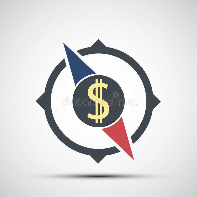 Compass icon with dollar sign vector illustration