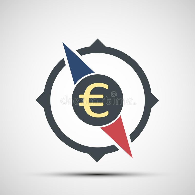 Compass icon with euro currency sign vector illustration