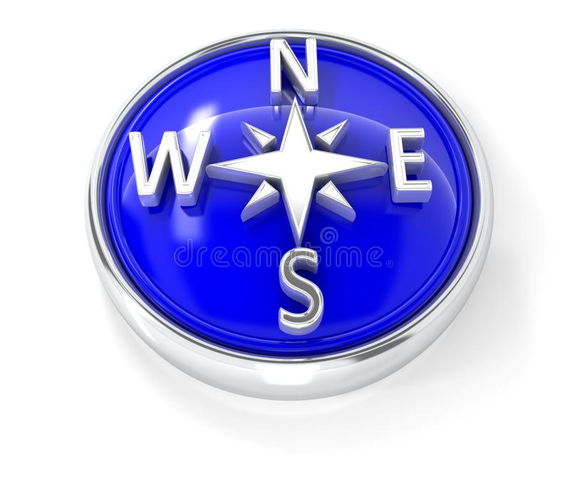 Compass icon on glossy blue round button stock illustration