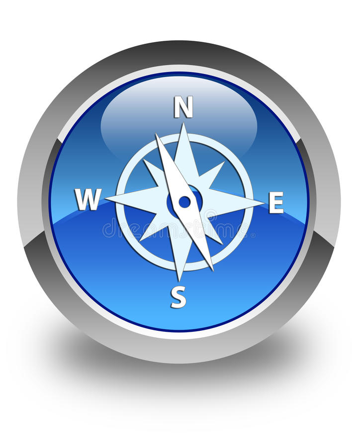 Compass icon glossy blue round button vector illustration
