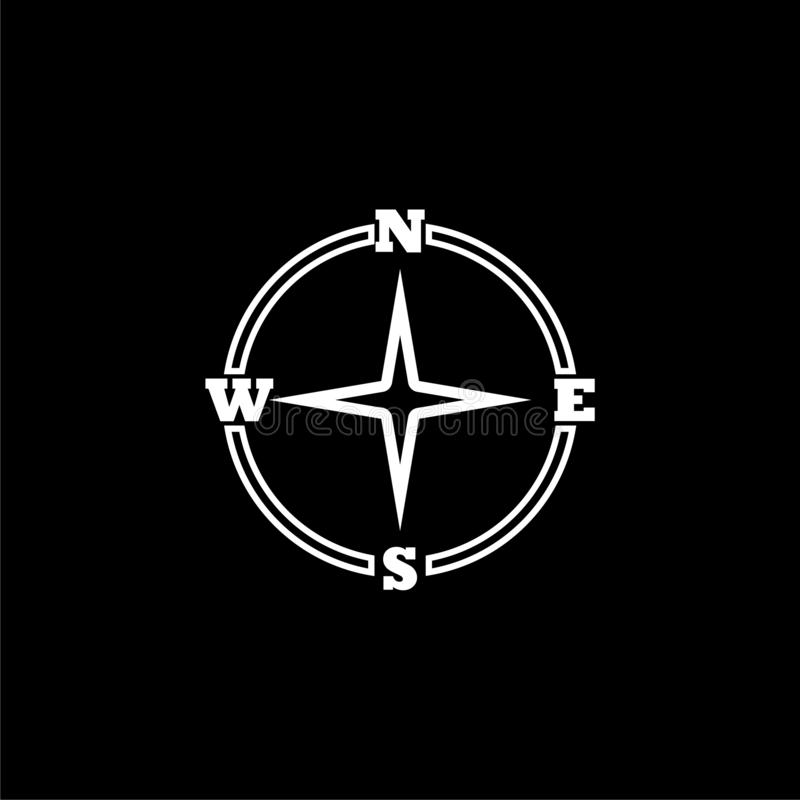 Compass icon isolated on black background. Simple vector logo stock illustration