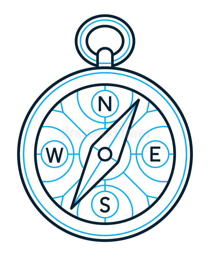Compass icon outline drawing stock illustration