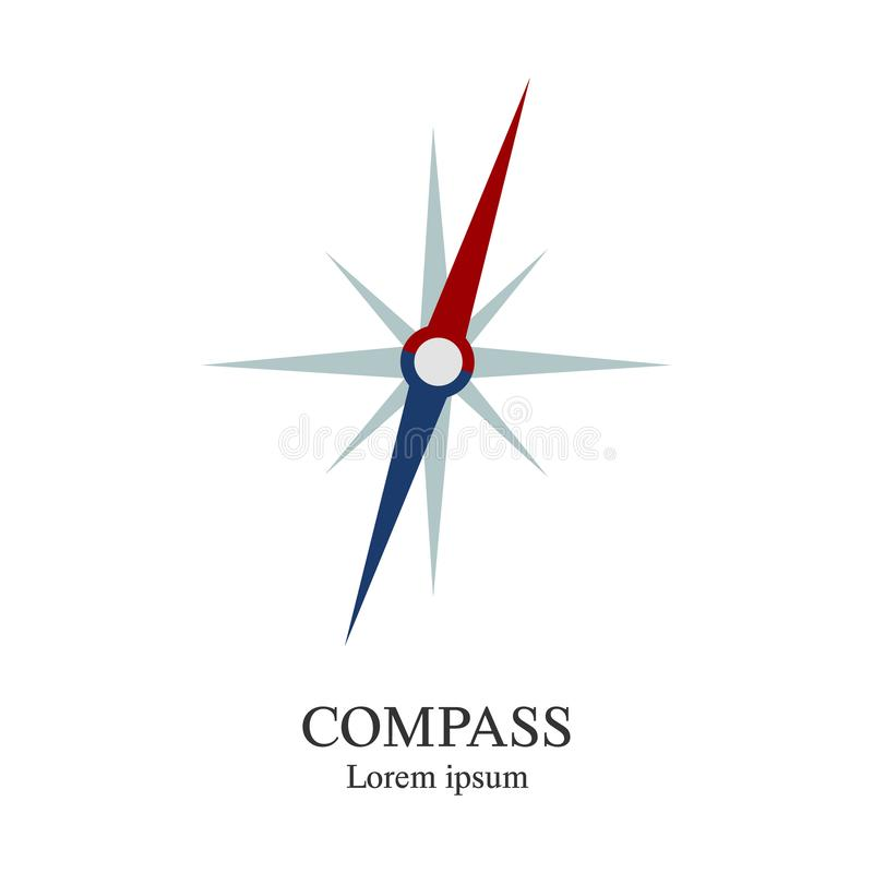 Compass icon. Travel company logo template. Abstract symbol of adventure. Clean and modern vector illustration. Compass icon. Travel company logo template royalty free illustration